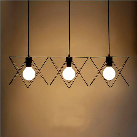 3 Lights E27 Industrial Vintage Chandelier Ceiling Light Pendant Kitchen Bar Fixture Lamp for Kitchen Living Room Bar Counter Dining Room (Best Ceiling Lights For Dining Room)