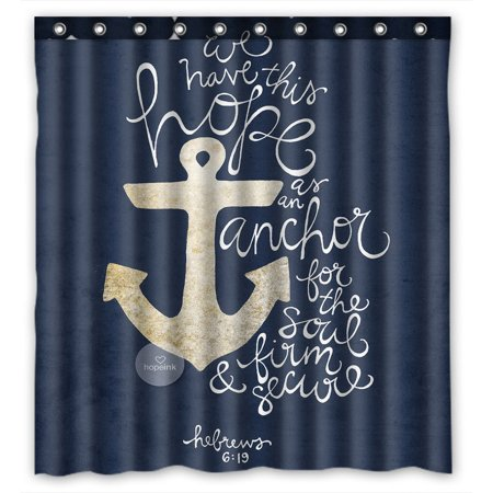 GCKG We Have This Hope As an Anchor for the Soul Hebrew 6: 19 Theme Pattern Waterproof Polyester Shower Curtain Bathroom Deco 66x72 inches