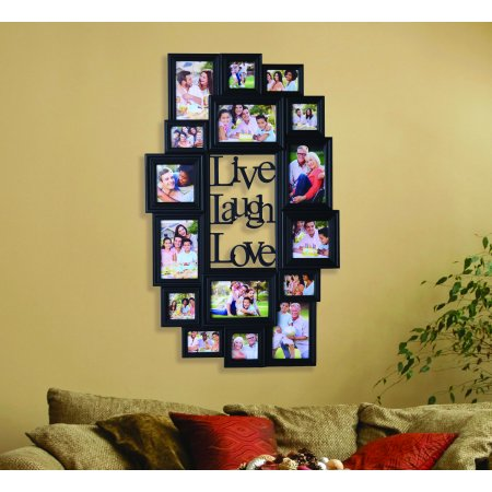 Melannco 16 Opening Black Plastic Photo Collage Frame