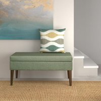 Chevron Patterned Fabric Upholstered Wooden Bench with Lift Top Storage, Gray