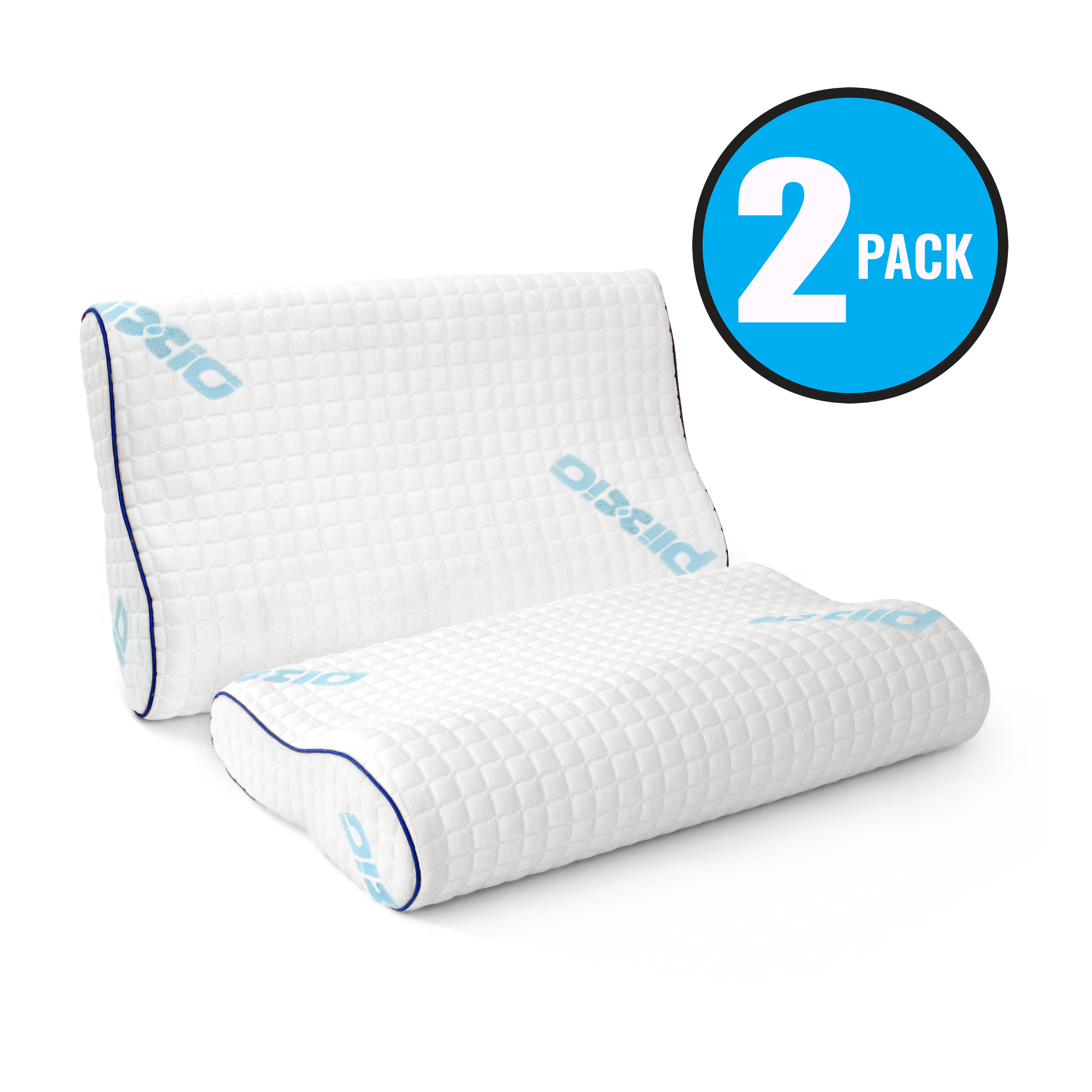2 Pack Plixio Memory Foam Contour Pillow with Hypoallergenic Bamboo Cover— Orthopedic Cervical Back and Neck Support Bed Pillow - Standard Size