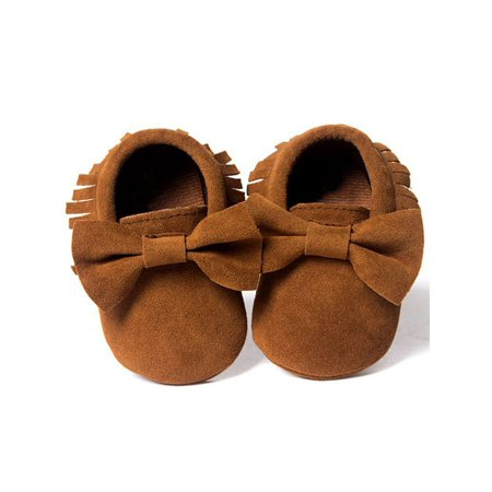 Babula Baby Kids Girls Suede Bowknot Sole Crib Shoes 0-18M