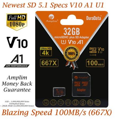 32GB Micro SD Card plus Adapter. Amplim 100MB/s MicroSDXC Card V10 A1 U3 Class 10 MicroSD Memory Card for GoPro, Cell Phones, Samsung Galaxy, LG, Sony Xperia, DJI, Drones, Cameras, Nintendo ()