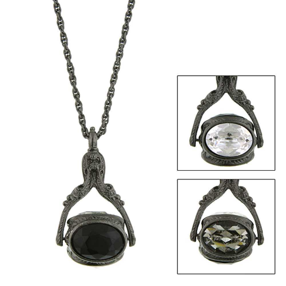 1928 Jewelry Black-Tone Color/Black Crystal 3 Sided Spinner Necklace 30""