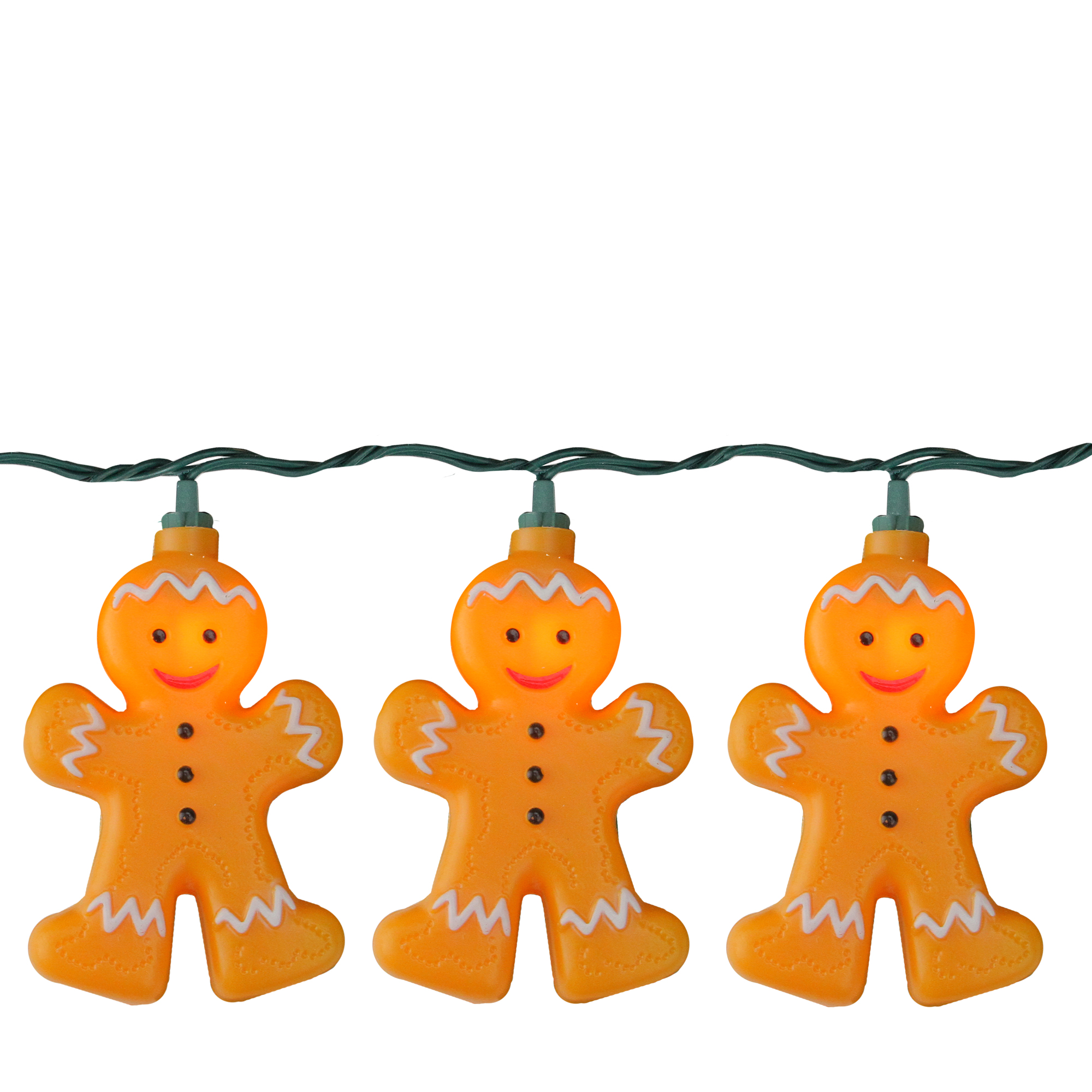 Set of 10 Smiling Gingerbread Cookie Man Christmas Lights - 10 ft Green Wire