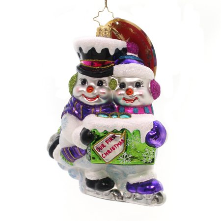 Christopher Radko SKATING SNOW COUPLE Ornament 1st Christmas Couple 1018873 - Retired Radko Halloween Ornaments
