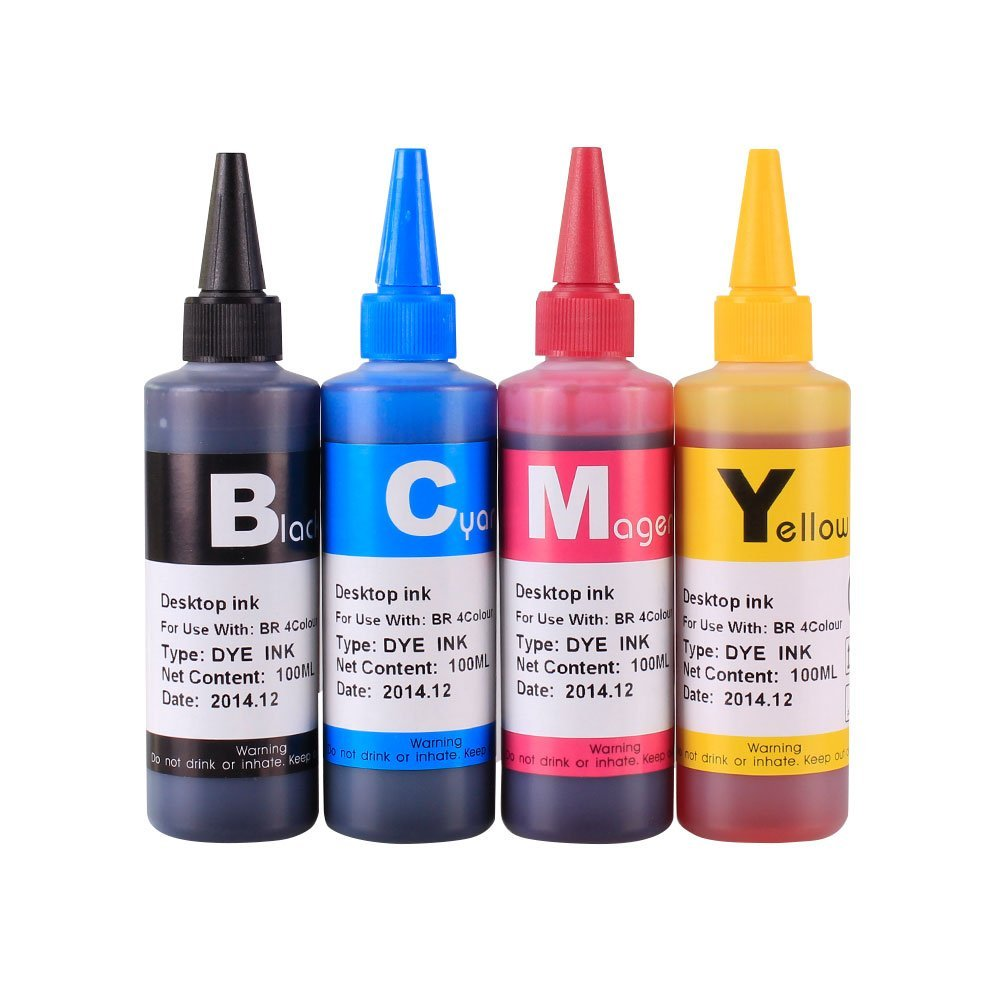 Compatible CISS Refill Ink Bottles (400ml, 100ml Per Color) for Brother LC75 LC79 LC71