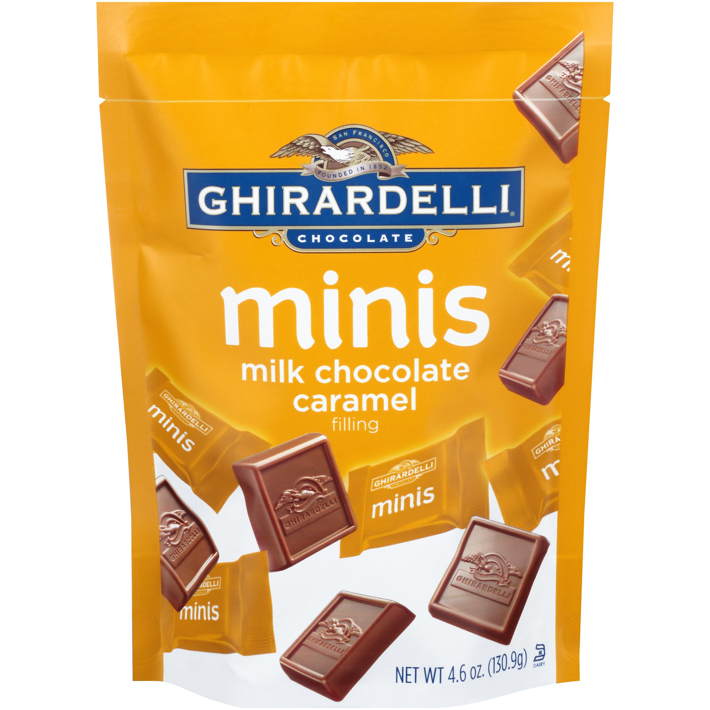 Ghirardelli® Minis Caramel Filling Milk Chocolate 4.6 oz. Stand-up Bag