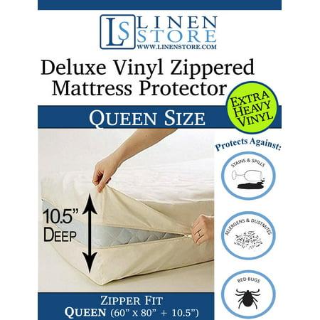 Deluxe Vinyl Zippered Mattress Protector Cover Extra Heavy Bed Bugs Dustmites Shield Waterproof Hypoallergenic 80 X 60 Queen