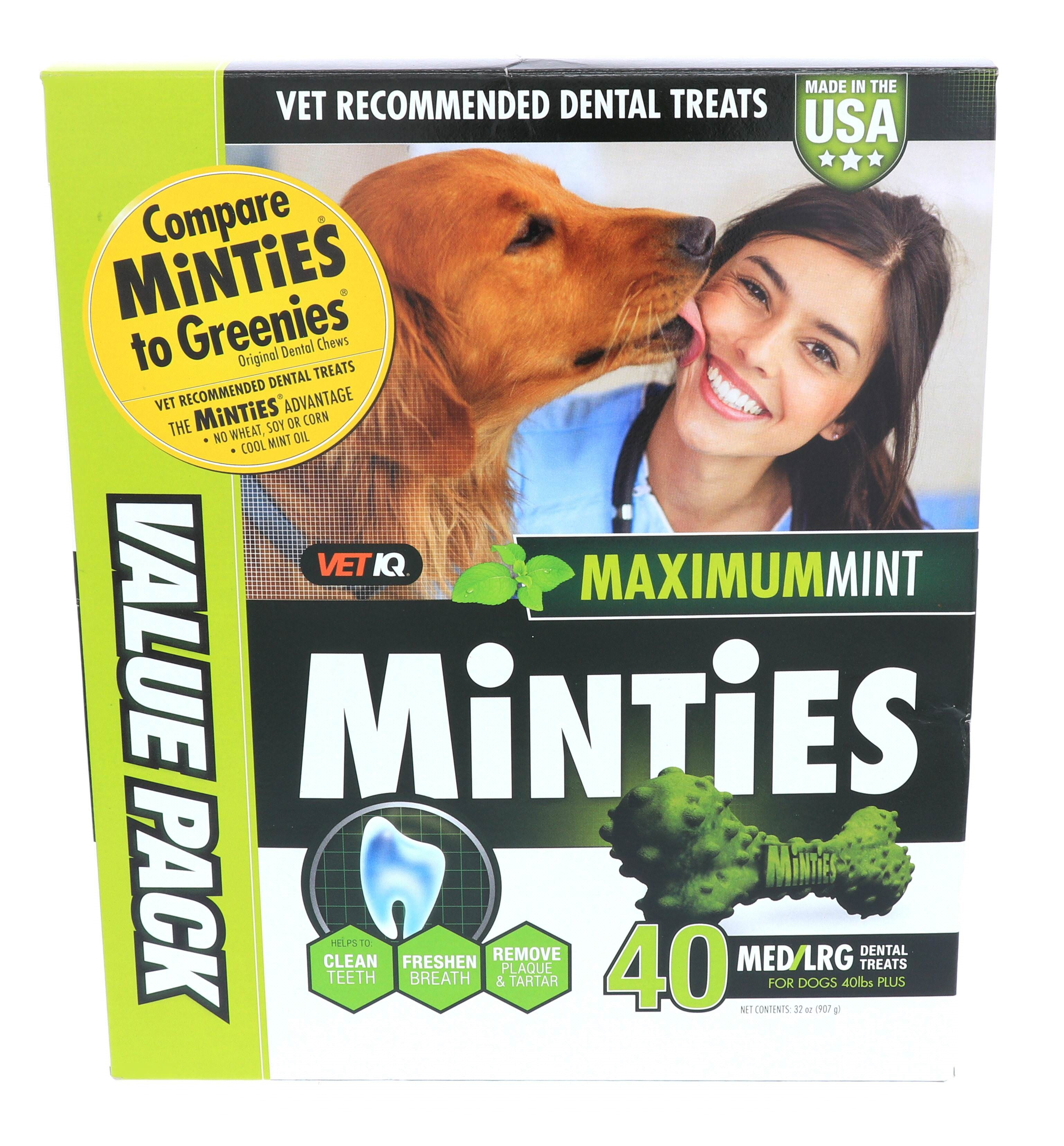 35% Off Holiday Special! Minties Teeth Cleaner Dental Dog Treats Medium/Large, 40 count