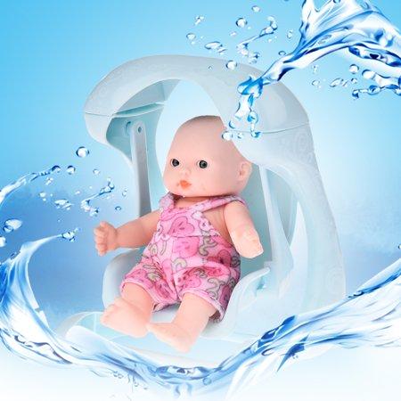 Mini Vinyl Simulation Look Real Smile Emoji Baby Doll Kids Baby Cradle Bath