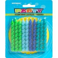 Spiral Birthday Candles, Blue & Green, 10ct