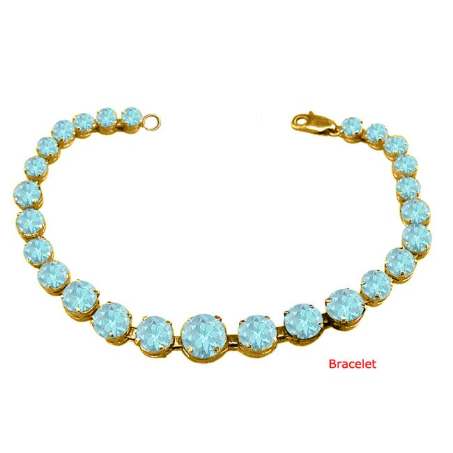 Fine Jewelry Vault UBUBRBK7205AGVYAQ March Birthstone Prong Set Created Aquamarine Bracelet in 18kt Yellow Gold over... by Fine Jewelry Vault