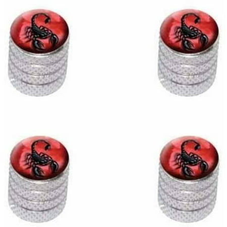 Scorpion on Red Bug Insect Venom Poisonous Tire Rim Wheel Aluminum Valve Stem Caps, Multiple Colors ()