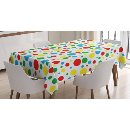 Colorful Tablecloth, Multicolored Traditional Polka Dots with Many Sizes Circus Themed Illustration, Rectangular Table Cover for Dining Room Kitchen, 52 X 70 Inches, Multicolor, by Ambesonne for $<!---->