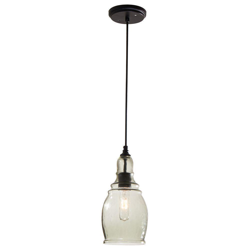 Hampton Bay 1-Light Black Mini Pendant 1001642357 by
