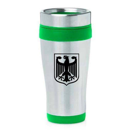 16oz Insulated Stainless Steel Travel Mug Coat of Arms Germany Eagle (Green),MIP by