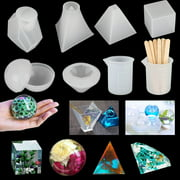 18Pack Resin Casting Molds Tools, Epoxy Resin Molds for DIY Jewelry Pendant Craft Decoration Making, Including Cube, Pyramid, Sphere, Diamond, Stone Resin Mold with Silicone Cups & Wood Sticks