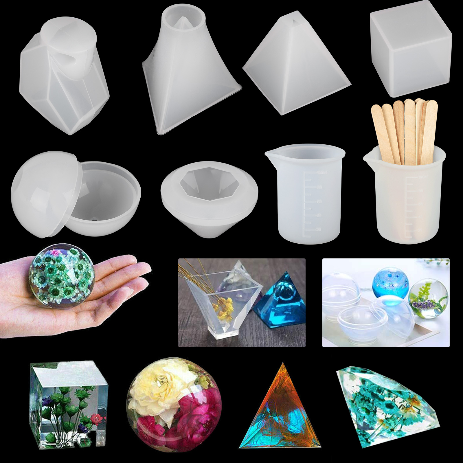 Triangle Crystal Epoxy Mold Earrings Mould Pendant Mould Resin Silicone Molds
