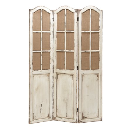 Decmode 48 X 71 Large 3 Panel White Wood Screen Decorative Room Divider W Fabric Window Panes