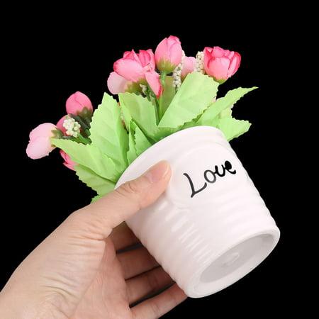 Fête Accueil Boutons Fleurs Artificiel Tissu Commode Rose Décoration Table - image 2 de 4