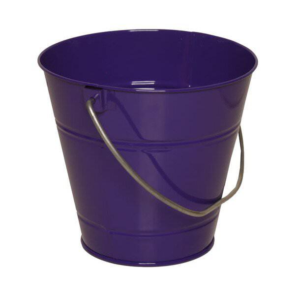 JAM Paper Metal Pail Bucket, Small, 3 3/4 x 6 x 5 1/4, Purple, 36/pack