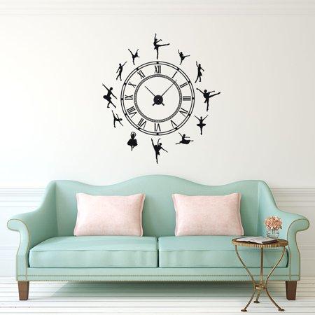 Vintage Roman Time Ballet Dancer Vinyl Wall Décor Clock With Clock ...
