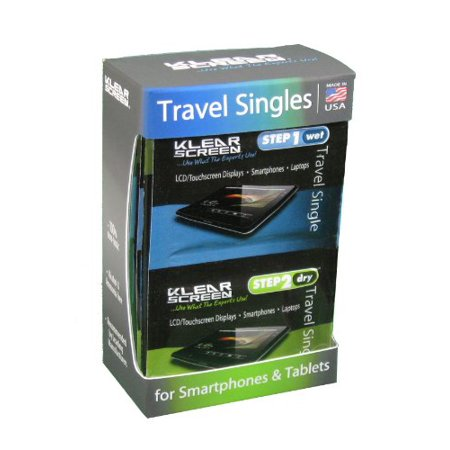 KS-SP12 Travel Singles Kit, Cleans, protects, and preserves your laptops, desktops, cell phones, PDA's, GPS navigational systems and more By Klear (See Your Phone Screen On Your Computer)