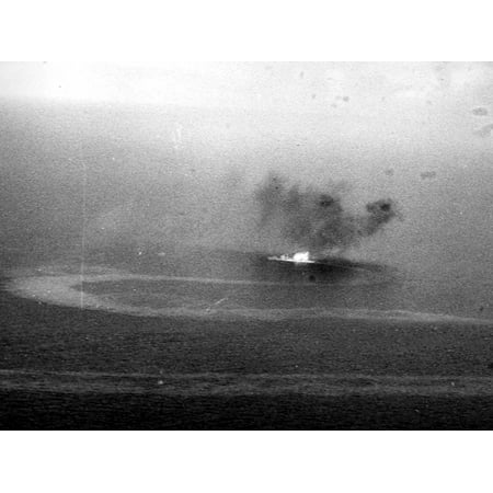 Aircraft Carrier Planes (Canvas Print A burning Japanese warship off Truk Lagoon, as seen from a plane from the aircraft carrier USS Enter Stretched Canvas 10 x 14 )