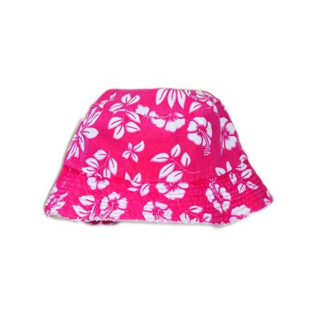 Pink White Luau Hawaiian Flowers Power Hippy Costume Hibiscus Bucket Hat ()