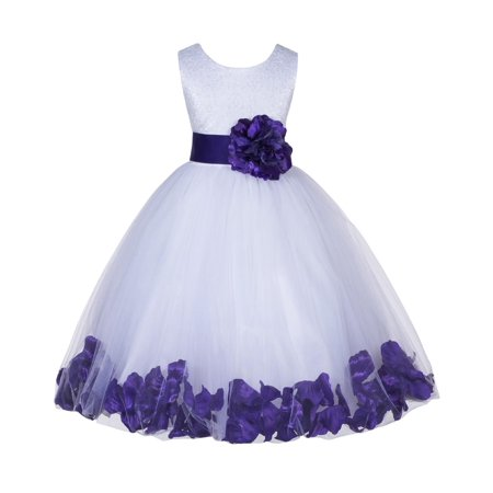 7acaf94b694 Ekidsbridal Lace Top Floral Petals White Flower Girl Dress Tulle Weddings  Summer Easter Dress Special Occasions Pageant Toddler Girl s Clothing  Holiday ...
