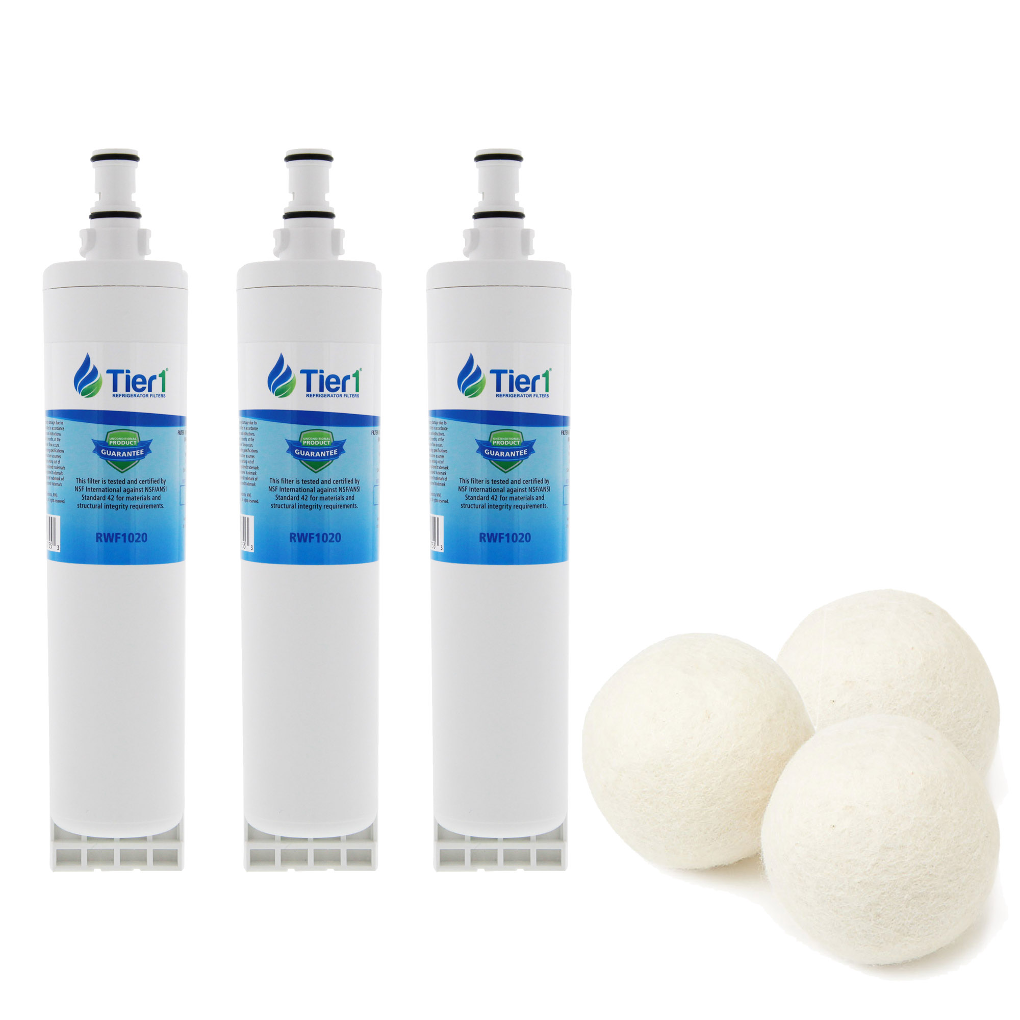Tier1 Replacement for EveryDrop EDR5RXD1 4396508/4396510 Whirlpool  Comparable Refrigerator Water Filter Bundled with Fabric Softening Wool  Dryer Balls