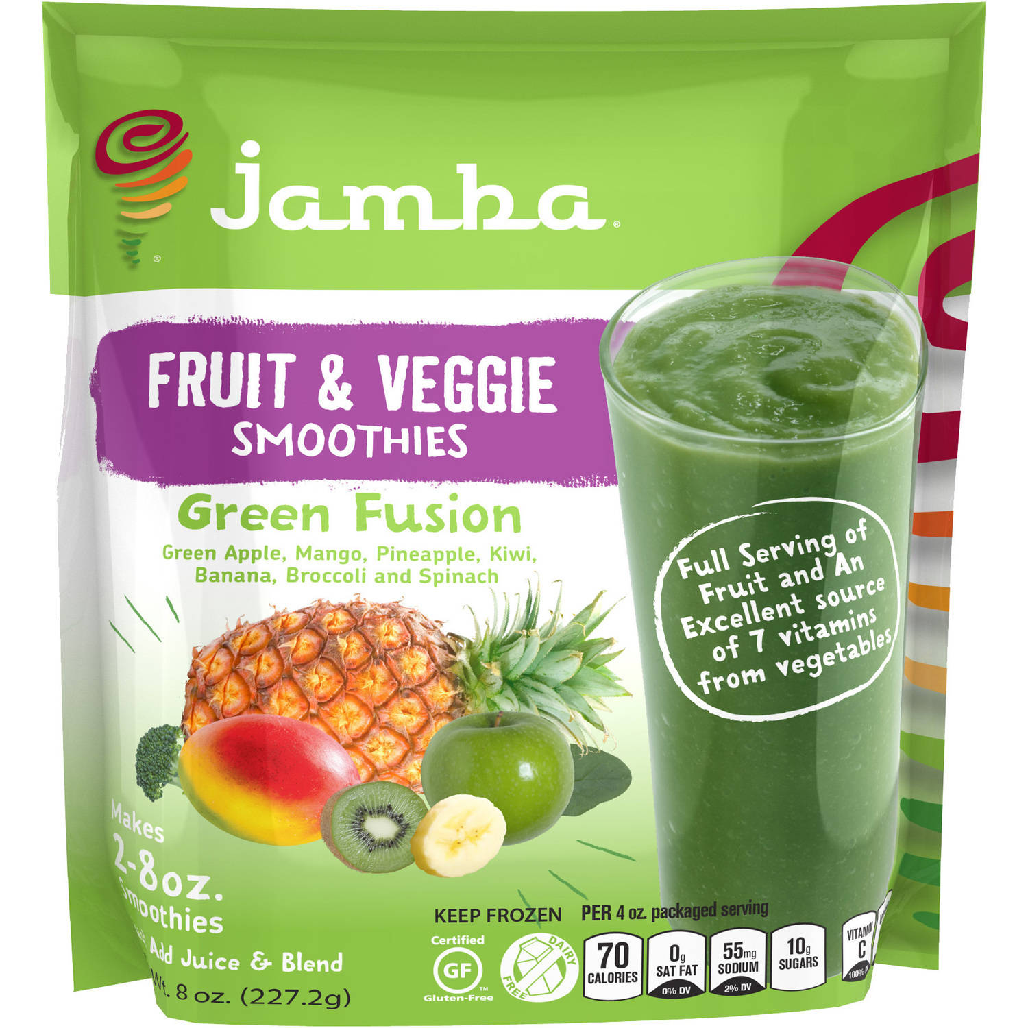 Jamba Fruit & Veggie Green Fusion Smoothies, 8 oz