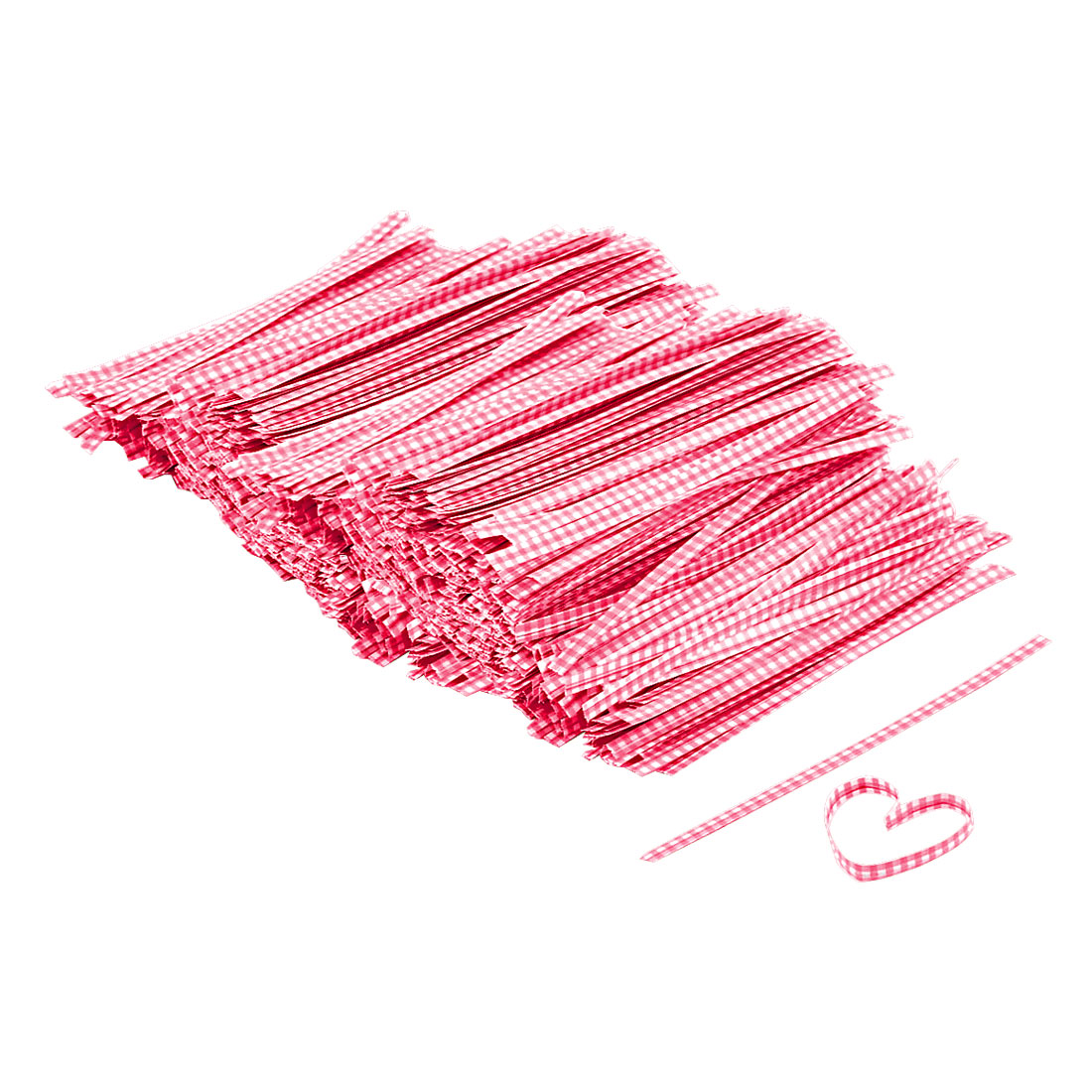 Plaid Pattern Candy Bag Wrapper Twist Tie String Decor Red 102mm Length 1000 Pcs