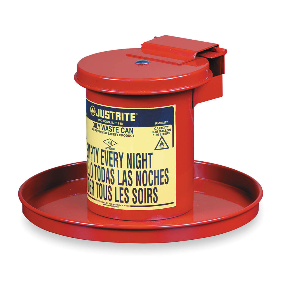 JUSTRITE Drain Can, 1/2 Gal., Red, Galvanized Steel 09400