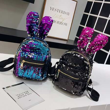 4d03904fcf HiCoup - HiCoup Fashion Girls Sequin Big Rabbit Ears Faux Leather Backpack  Travel Shoulders Bag - Walmart.com