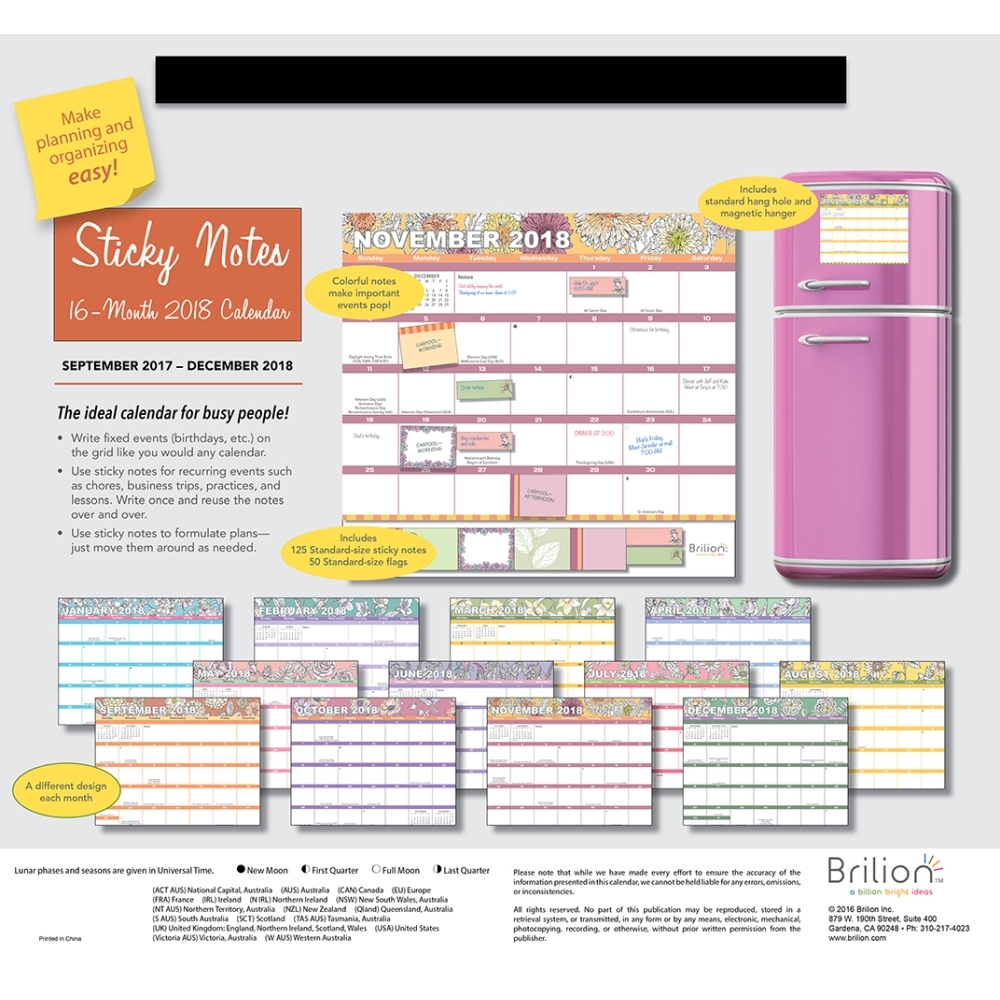 2018 sticky notes wall calendar organizer office organizer by brilion walmartcom