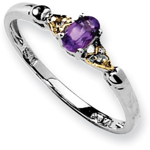 Sterling Silver 14K Gold IJ Diamond & Amethyst Ring Sz 6 by