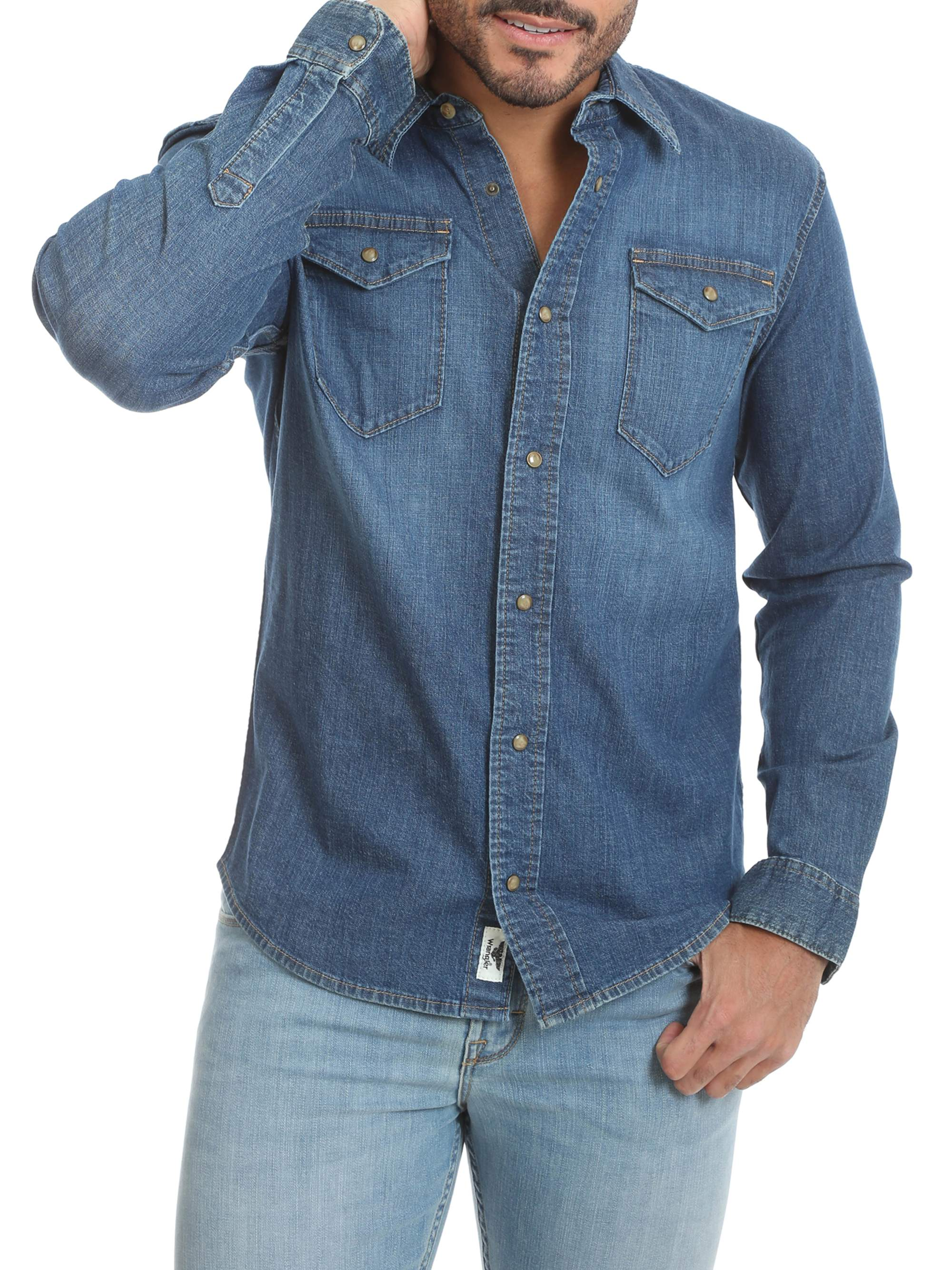 Men Denim Shirt Blue Jeans Slim Fit Clips Buttons denim t-shirts tops