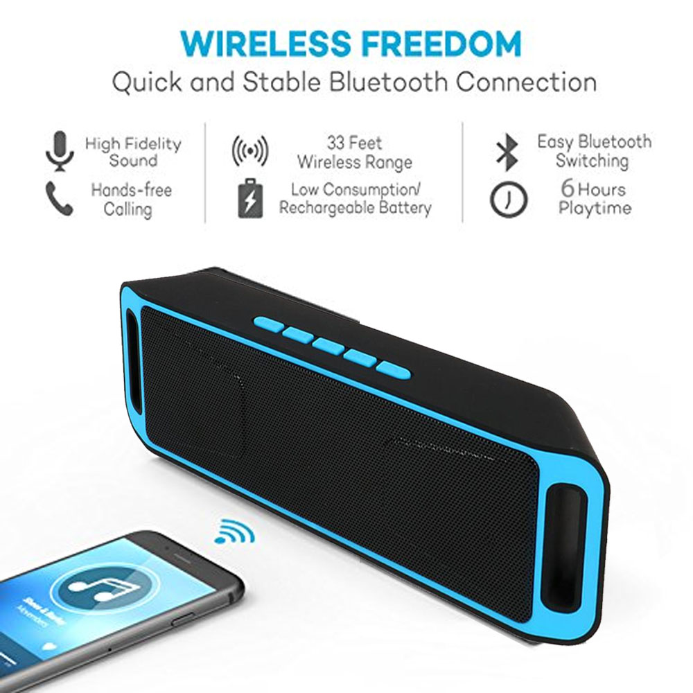 Indigi® Wireless Bluetooth Speaker Sound System Portable Soundbar FM Radio Boombox -Blue