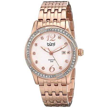 Women's BUR102RG Rose Gold Quartz Watch with White Dial and Rose Gold Bracelet