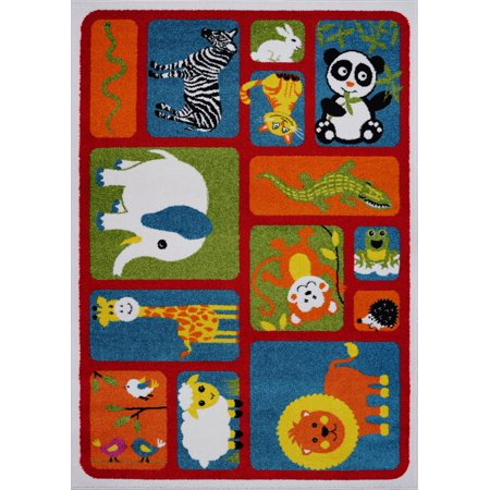 Ladole Rugs Adorable Animals Theme Contemporary Kids Area Rug Carpet in Red and Multicolor, 4x6 (3'11