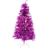 Fraser Hill Farm 7-Ft. Festive Tinsel Christmas Tree with Clear LED Lighting, Pink