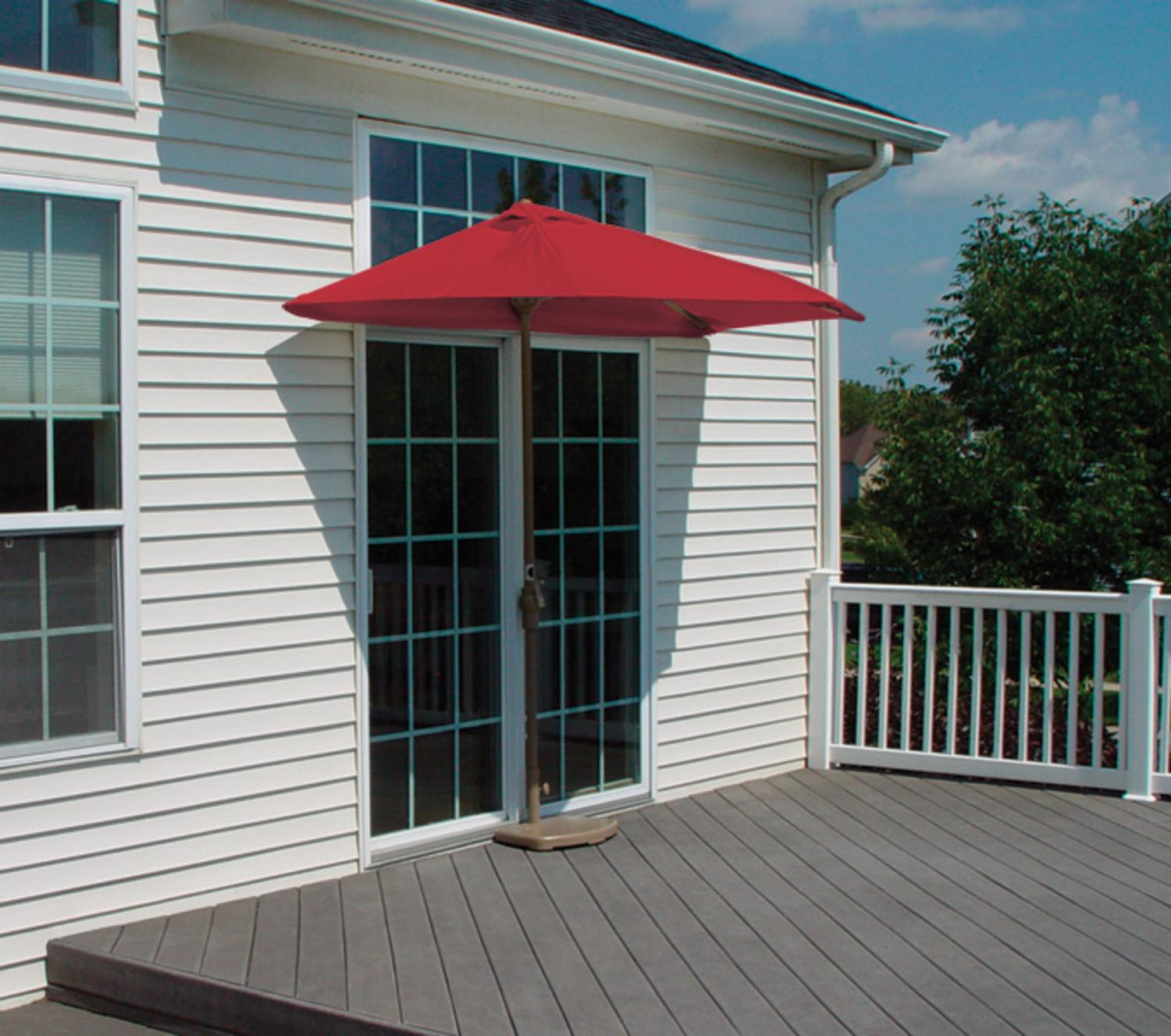 75u0027 half canopy patio market umbrella red sunbrella