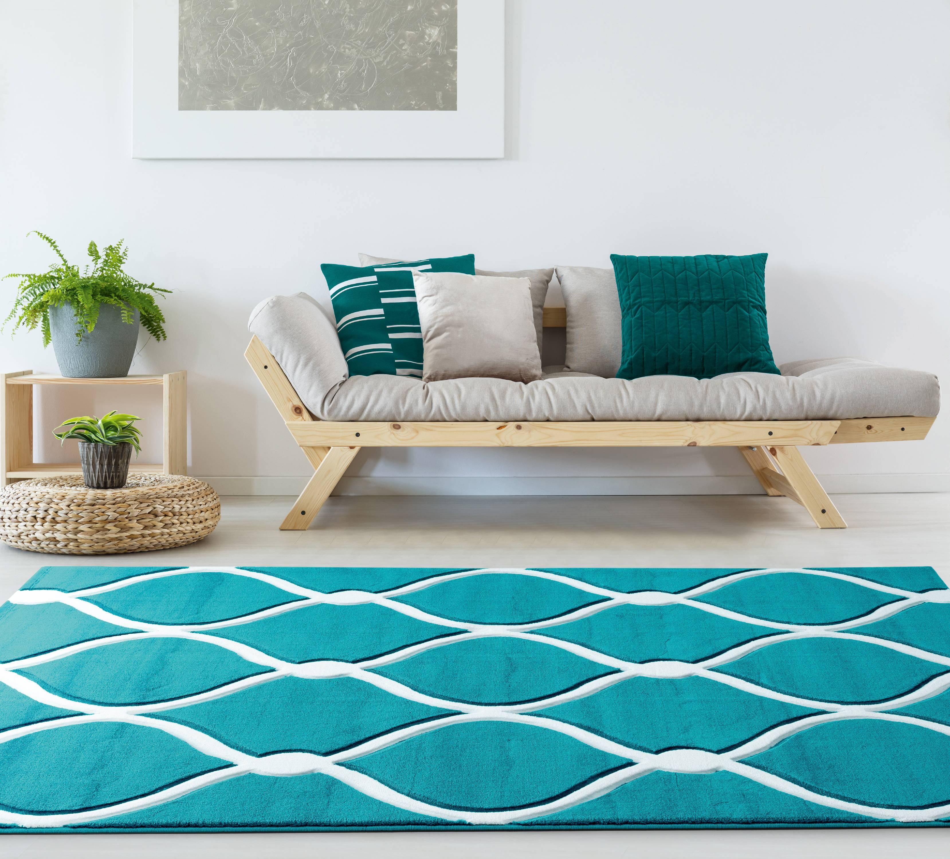 United Weavers Drachma Freya Geometric Turquoise Woven Olefin/Polypropylene Area Rug or Runner