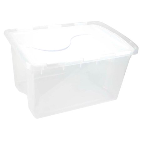 Sterilite 1914 Single 48 Quart Clear Base Hinged Lid Storage Box Tote Container - image 5 de 12