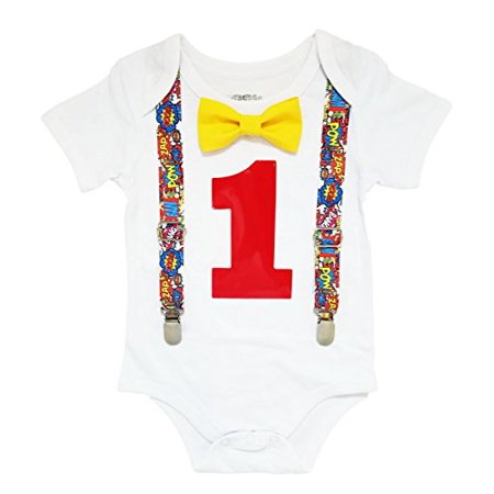 Noah's Boytique Superhero First Birthday Outfit Super Hero Shirt Party Cake Smash Outfit Comic Book Theme 12-18 Months (Super Hero Outfit)