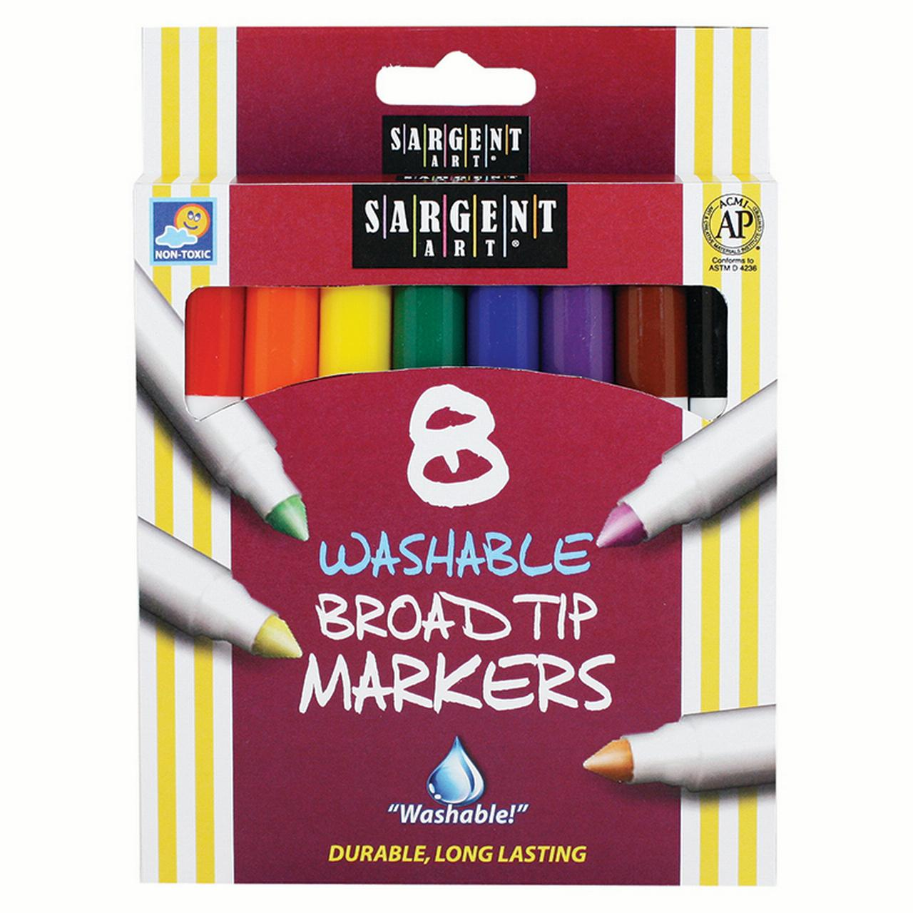 SARGENT ART WASHABLE FELT SUPER TIP MARKERS BROAD TIP