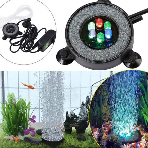 Aquarium Accessory Multi Colored Led Aquarium Air Stone Disk Round Fish Tank Walmart Com Walmart Com
