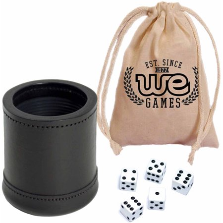 Mahogany Leather Professional Dice Cup with Ribbed Rubber Lining, Includes 5 Dice and Cotton Canvas Storage Bag